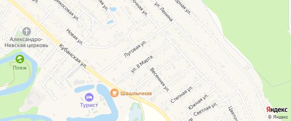 Весенняя улица на карте Краснооктябрьского поселка Адыгеи с номерами домов