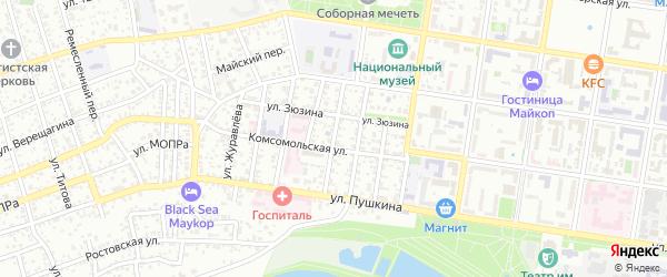 Улица Котовского на карте Майкопа с номерами домов