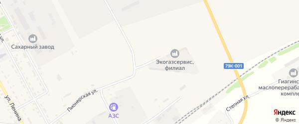 Пионерский переулок на карте Гиагинской станицы Адыгеи с номерами домов