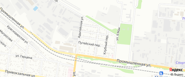 Юбилейный переулок на карте Майкопа с номерами домов
