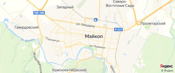 Карта Майкопа с районами, улицами и номерами домов