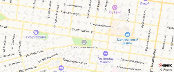 Территория СНТ Яблонька на карте Майкопа с номерами домов
