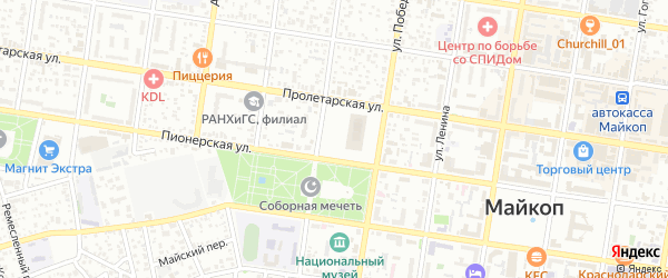 Студенческая улица на карте Майкопа с номерами домов
