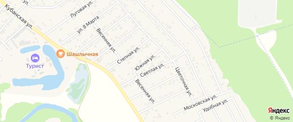 Южная улица на карте Краснооктябрьского поселка Адыгеи с номерами домов