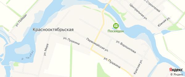 Карта Краснооктябрьской станицы в Краснодарском крае с улицами и номерами домов