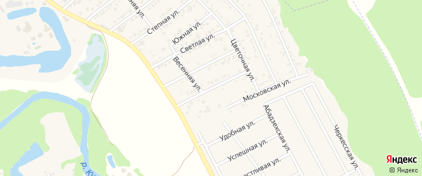 Улица 50 лет Победы на карте Краснооктябрьского поселка Адыгеи с номерами домов