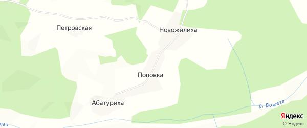 Карта деревни Поповки в Вологодской области с улицами и номерами домов