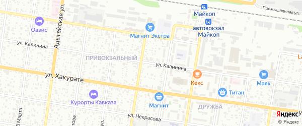 Улица Калинина на карте Майкопа с номерами домов