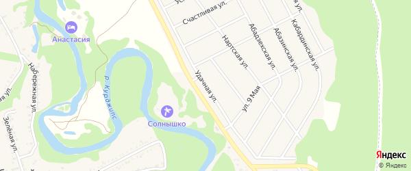 Удачная улица на карте Краснооктябрьского поселка Адыгеи с номерами домов