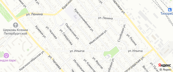 Улица Д.Бедного на карте Тихорецка с номерами домов