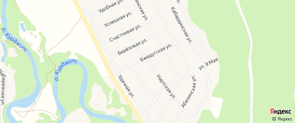 Нартская улица на карте Краснооктябрьского поселка Адыгеи с номерами домов