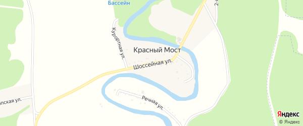 Шоссейная улица на карте хутора Красного Моста Адыгеи с номерами домов
