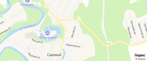 Лесная улица на карте Садового хутора Адыгеи с номерами домов