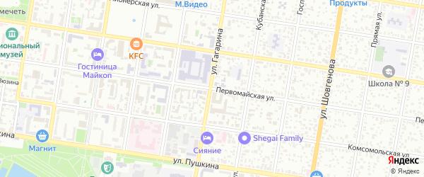 Первомайская улица на карте Майкопа с номерами домов