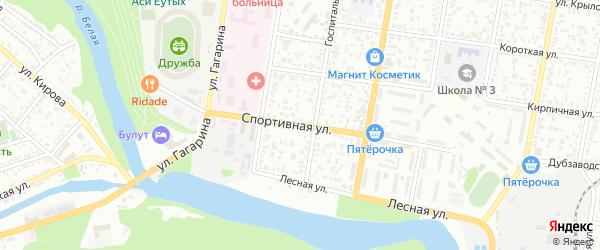 Спортивная улица на карте Майкопа с номерами домов