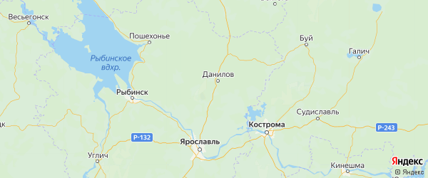 Карта Даниловского района Ярославская области с городами и населенными пунктами
