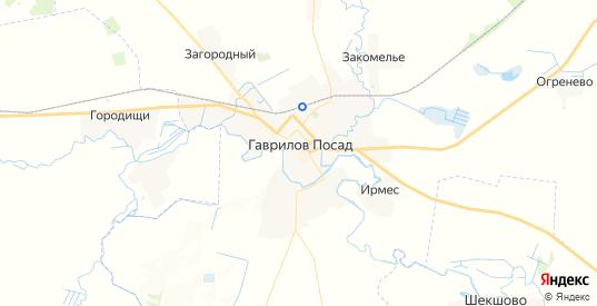 Карта Гаврилова Посада с улицами и домами подробная. Показать со спутника номера домов онлайн