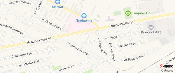 Мира 1-й переулок на карте Ряжска с номерами домов