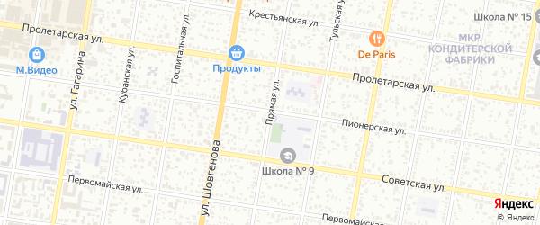 Прямая улица на карте Майкопа с номерами домов