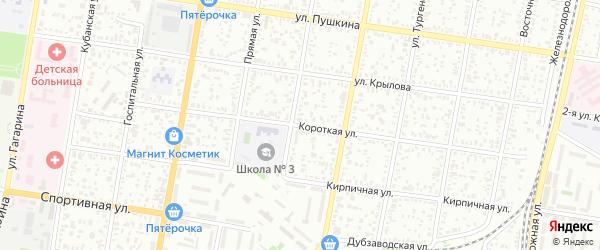 Короткая улица на карте Майкопа с номерами домов