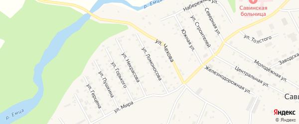 Улица Ломоносова на карте Савинского поселка с номерами домов