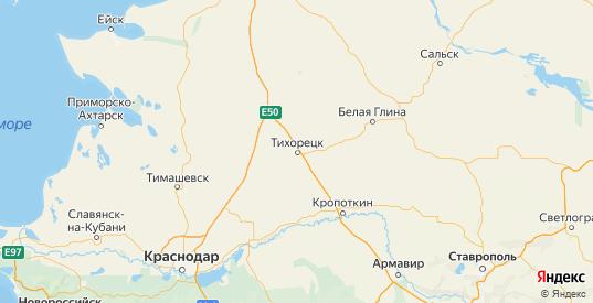 Карта Тихорецкий района Краснодарского края с городами и населенными пунктами
