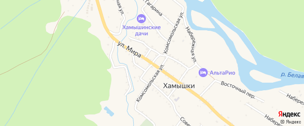 Улица Мира на карте села Хамышек Адыгеи с номерами домов
