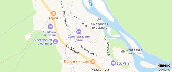 Прямая улица на карте села Хамышек Адыгеи с номерами домов