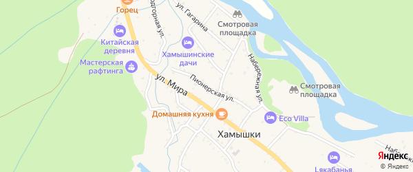 Пионерская улица на карте села Хамышек Адыгеи с номерами домов