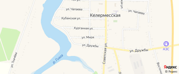 Улица Мира на карте Келермесской станицы Адыгеи с номерами домов