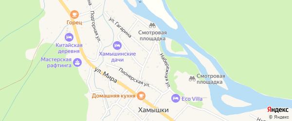 Комсомольская улица на карте села Хамышек Адыгеи с номерами домов