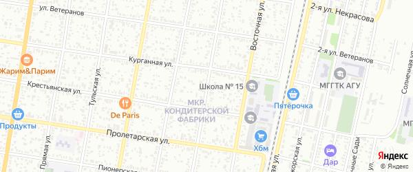 Подгорная улица на карте хутора Северо-Восточные Садов Адыгеи с номерами домов
