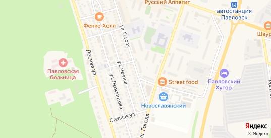 Улица Гоголя в Павловске с номерами домов на карте. Спутник и схема онлайн
