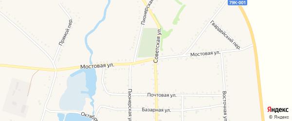 Мостовая улица на карте Келермесской станицы Адыгеи с номерами домов
