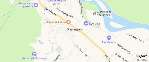 Подгорная улица на карте села Хамышек Адыгеи с номерами домов