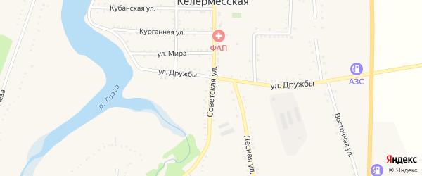 Советская улица на карте Келермесской станицы Адыгеи с номерами домов