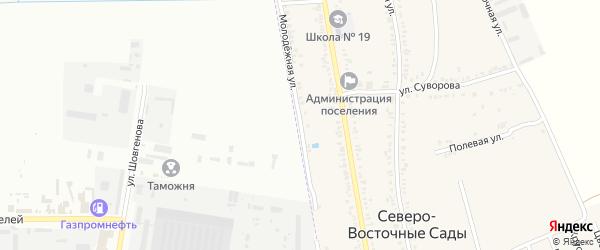 Молодежная улица на карте хутора Северо-Восточные Садов Адыгеи с номерами домов