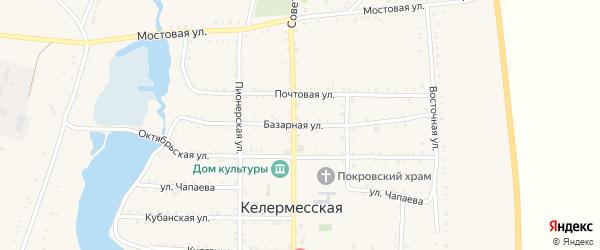 Базарная улица на карте Келермесской станицы Адыгеи с номерами домов
