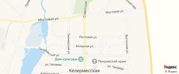 Почтовая улица на карте Келермесской станицы Адыгеи с номерами домов