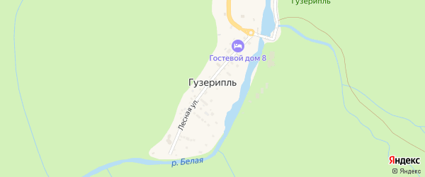 Дорога А/Д к Гос. Биосферному Заповеднику на карте поселка Гузерипля с номерами домов