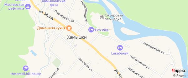 Восточный переулок на карте села Хамышек Адыгеи с номерами домов