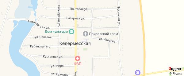 Комсомольская улица на карте Келермесской станицы Адыгеи с номерами домов