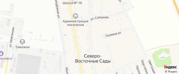 Садовая улица на карте Приозерного садового некоммерческого товарищества Адыгеи с номерами домов