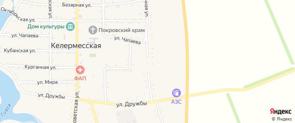 Восточная улица на карте Келермесской станицы Адыгеи с номерами домов