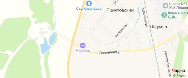 Родниковая улица на карте Причтовского хутора Адыгеи с номерами домов