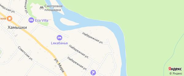 Набережная улица на карте села Хамышек Адыгеи с номерами домов