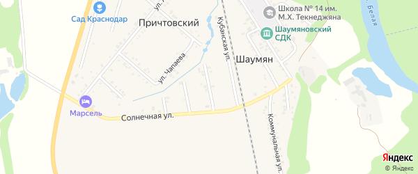 Черноморская улица на карте Причтовского хутора Адыгеи с номерами домов