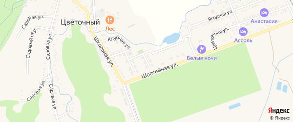 Улица Победы на карте Цветочного поселка Адыгеи с номерами домов