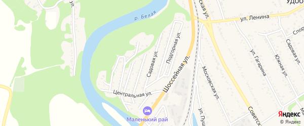 Садовая улица на карте Совхозного поселка Адыгеи с номерами домов