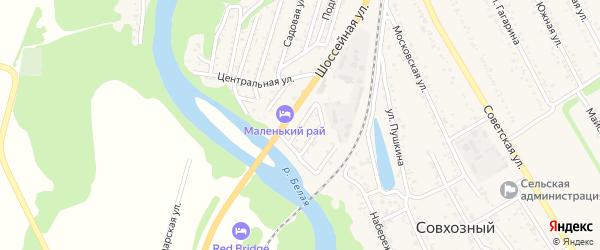 Дорожная улица на карте садового некоммерческого товарищества Юга Адыгеи с номерами домов